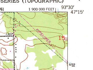Reduced fragment of topographic map en--usgs--024k--017992--(1953)--N047-15-00_W093-37-30--N047-07-30_W093-30-00; towns and cities Grand Rapids