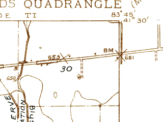 Reduced fragment of topographic map en--usgs--024k--017994--(1935)--N041-30-00_W083-52-30--N041-22-30_W083-45-00; towns and cities Grand Rapids