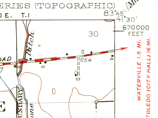 Reduced fragment of topographic map en--usgs--024k--017994--(1952)--N041-30-00_W083-52-30--N041-22-30_W083-45-00; towns and cities Grand Rapids