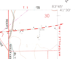 Reduced fragment of topographic map en--usgs--024k--017994--(1958)--N041-30-00_W083-52-30--N041-22-30_W083-45-00; towns and cities Grand Rapids