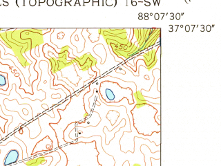 Reduced fragment of topographic map en--usgs--024k--017999--(1955)--N037-07-30_W088-15-00--N037-00-00_W088-07-30; towns and cities Grand Rivers