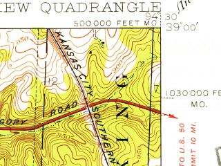 Reduced fragment of topographic map en--usgs--024k--018025--(1934)--N039-00-00_W094-37-30--N038-52-30_W094-30-00; towns and cities Grandview