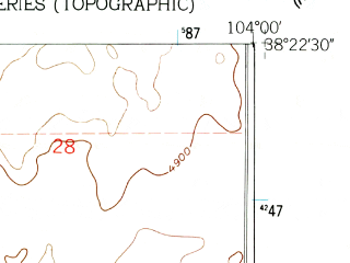 Reduced fragment of topographic map en--usgs--024k--018035--(1960)--N038-22-30_W104-07-30--N038-15-00_W104-00-00