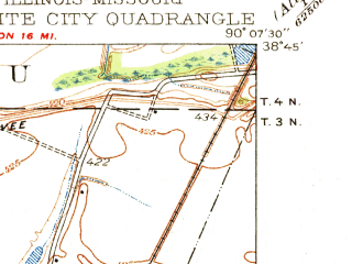 Reduced fragment of topographic map en--usgs--024k--018060--(1935)--N038-45-00_W090-15-00--N038-37-30_W090-07-30; towns and cities St. Louis, Granite City, Riverview, Venice, Brooklyn