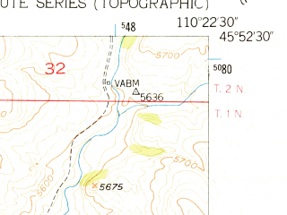 Reduced fragment of topographic map en--usgs--024k--018092--(1951)--N045-52-30_W110-30-00--N045-45-00_W110-22-30