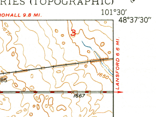 Reduced fragment of topographic map en--usgs--024k--018095--(1949)--N048-37-30_W101-37-30--N048-30-00_W101-30-00; towns and cities Grano