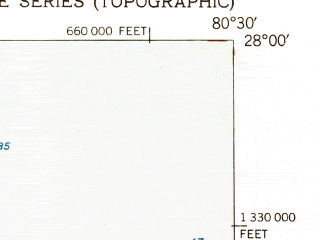 Reduced fragment of topographic map en--usgs--024k--018098--(1951)--N028-00-00_W080-37-30--N027-52-30_W080-30-00; towns and cities Malabar