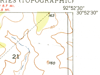 Reduced fragment of topographic map en--usgs--024k--018101--(1948)--N030-52-30_W093-00-00--N030-45-00_W092-52-30