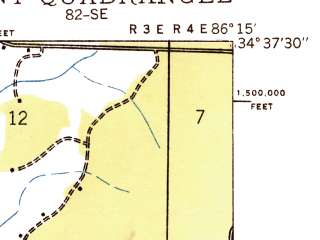 Reduced fragment of topographic map en--usgs--024k--018102--(1936)--N034-37-30_W086-22-30--N034-30-00_W086-15-00; towns and cities Grant, Woodville