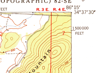 Reduced fragment of topographic map en--usgs--024k--018102--(1950)--N034-37-30_W086-22-30--N034-30-00_W086-15-00; towns and cities Grant, Woodville