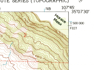 Reduced fragment of topographic map en--usgs--024k--018117--(1957)--N035-07-30_W107-52-30--N035-00-00_W107-45-00