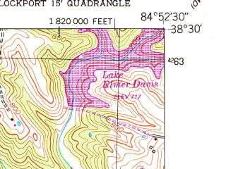 Reduced fragment of topographic map en--usgs--024k--018202--(1953)--N038-30-00_W085-00-00--N038-22-30_W084-52-30; towns and cities Gratz