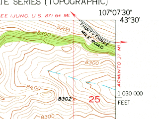Reduced fragment of topographic map en--usgs--024k--018206--(1952)--N043-30-00_W107-15-00--N043-22-30_W107-07-30