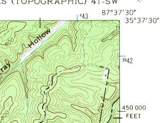 Reduced fragment of topographic map en--usgs--024k--018216--(1951)--N035-37-30_W087-45-00--N035-30-00_W087-37-30