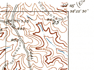 Reduced fragment of topographic map en--usgs--024k--018224--(1935)--N038-22-30_W092-52-30--N038-15-00_W092-45-00; towns and cities Gravois Mills