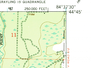 Reduced fragment of topographic map en--usgs--024k--018246--(1950)--N044-45-00_W084-45-00--N044-37-30_W084-37-30; towns and cities Grayling