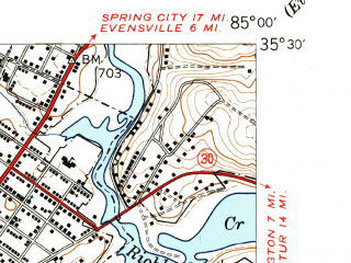 Reduced fragment of topographic map en--usgs--024k--018264--(1943)--N035-30-00_W085-07-30--N035-22-30_W085-00-00; towns and cities Dayton, Graysville