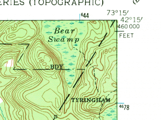 Reduced fragment of topographic map en--usgs--024k--018283--(1958)--N042-15-00_W073-22-30--N042-07-30_W073-15-00; towns and cities Great Barrington