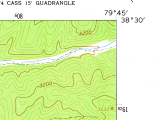 Reduced fragment of topographic map en--usgs--024k--018313--(1960)--N038-30-00_W079-52-30--N038-22-30_W079-45-00