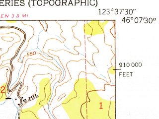 Reduced fragment of topographic map en--usgs--024k--018339--(1949)--N046-07-30_W123-45-00--N046-00-00_W123-37-30