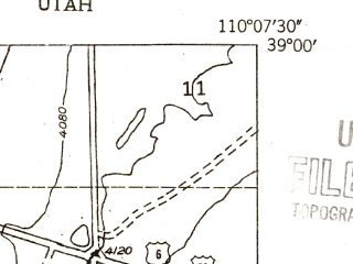 Reduced fragment of topographic map en--usgs--024k--018352--(1954)--N039-00-00_W110-15-00--N038-52-30_W110-07-30