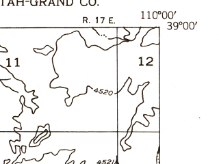 Reduced fragment of topographic map en--usgs--024k--018354--(1954)--N039-00-00_W110-07-30--N038-52-30_W110-00-00; towns and cities Green River