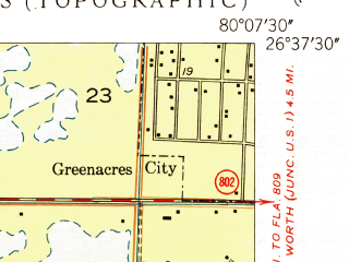 Reduced fragment of topographic map en--usgs--024k--018367--(1950)--N026-37-30_W080-15-00--N026-30-00_W080-07-30; towns and cities Aberdeen, Rainbow Lakes, Sun Valley