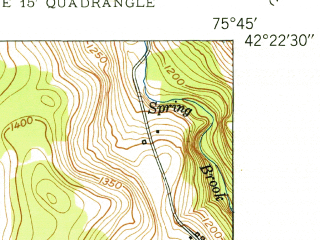 Reduced fragment of topographic map en--usgs--024k--018383--(1950)--N042-22-30_W075-52-30--N042-15-00_W075-45-00; towns and cities Greene