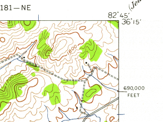 Reduced fragment of topographic map en--usgs--024k--018387--(1939)--N036-15-00_W082-52-30--N036-07-30_W082-45-00; towns and cities Greeneville, Tusculum