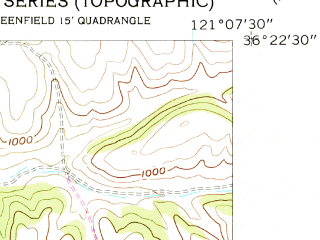 Reduced fragment of topographic map en--usgs--024k--018388--(1956)--N036-22-30_W121-15-00--N036-15-00_W121-07-30; towns and cities Greenfield