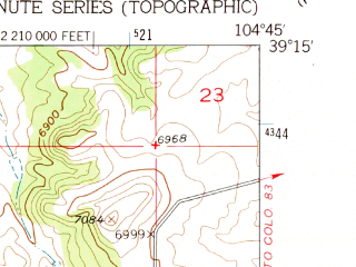 Reduced fragment of topographic map en--usgs--024k--018408--(1954)--N039-15-00_W104-52-30--N039-07-30_W104-45-00