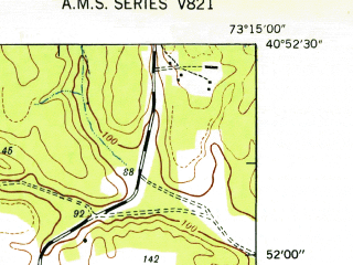 Reduced fragment of topographic map en--usgs--024k--018412--(1947)--N040-52-30_W073-22-30--N040-45-00_W073-15-00; towns and cities Commack, Deer Park, Dix Hills, Greenlawn, North Bay Shore