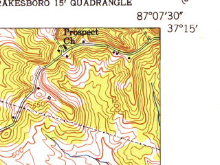 Reduced fragment of topographic map en--usgs--024k--018449--(1952)--N037-15-00_W087-15-00--N037-07-30_W087-07-30; towns and cities Greenville, Powderly