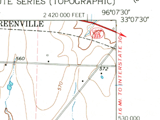 Reduced fragment of topographic map en--usgs--024k--018470--(1962)--N033-07-30_W096-15-00--N033-00-00_W096-07-30; towns and cities Caddo Mills