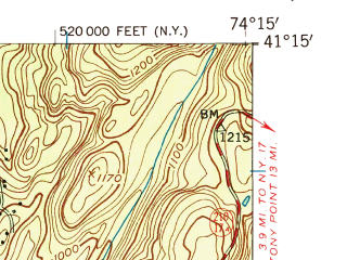 Reduced fragment of topographic map en--usgs--024k--018499--(1954)--N041-15-00_W074-22-30--N041-07-30_W074-15-00 in area of Lake Greenwood; towns and cities Greenwood Lake