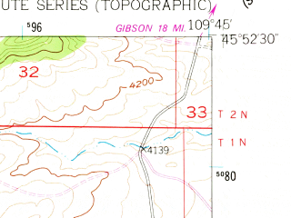 Reduced fragment of topographic map en--usgs--024k--018537--(1955)--N045-52-30_W109-52-30--N045-45-00_W109-45-00