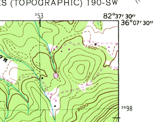 Reduced fragment of topographic map en--usgs--024k--018540--(1939)--N036-07-30_W082-45-00--N036-00-00_W082-37-30