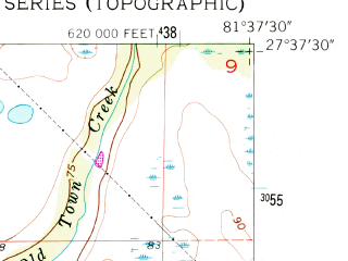 Reduced fragment of topographic map en--usgs--024k--018563--(1956)--N027-37-30_W081-45-00--N027-30-00_W081-37-30