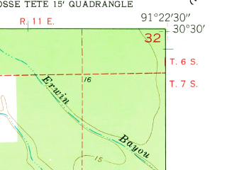 Reduced fragment of topographic map en--usgs--024k--018625--(1954)--N030-30-00_W091-30-00--N030-22-30_W091-22-30; towns and cities Grosse Tete, Rosedale