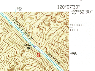 Reduced fragment of topographic map en--usgs--024k--018657--(1947)--N037-52-30_W120-15-00--N037-45-00_W120-07-30 in area of Pine Mountain Lake; towns and cities Groveland-big Oak Flat