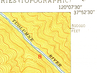 Reduced fragment of topographic map en--usgs--024k--018657--(1949)--N037-52-30_W120-15-00--N037-45-00_W120-07-30 in area of Pine Mountain Lake; towns and cities Groveland-big Oak Flat