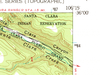 Reduced fragment of topographic map en--usgs--024k--018697--(1952)--N036-00-00_W106-22-30--N035-52-30_W106-15-00; towns and cities Los Alamos
