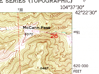 Reduced fragment of topographic map en--usgs--024k--018706--(1950)--N042-22-30_W104-45-00--N042-15-00_W104-37-30; towns and cities Hartville, Guernsey