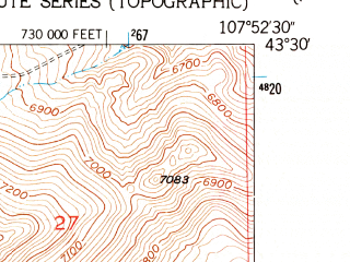 Reduced fragment of topographic map en--usgs--024k--018711--(1952)--N043-30-00_W108-00-00--N043-22-30_W107-52-30