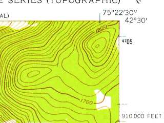 Reduced fragment of topographic map en--usgs--024k--018717--(1943)--N042-30-00_W075-30-00--N042-22-30_W075-22-30