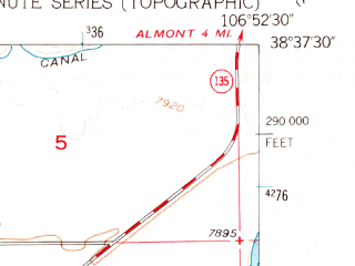 Reduced fragment of topographic map en--usgs--024k--018751--(1954)--N038-37-30_W107-00-00--N038-30-00_W106-52-30; towns and cities Gunnison