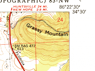 Reduced fragment of topographic map en--usgs--024k--018771--(1950)--N034-30-00_W086-30-00--N034-22-30_W086-22-30; towns and cities Union Grove
