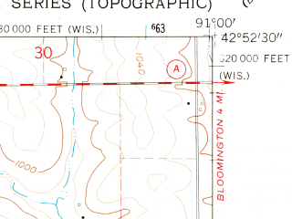 Reduced fragment of topographic map en--usgs--024k--018801--(1962)--N042-52-30_W091-07-30--N042-45-00_W091-00-00; towns and cities Guttenberg