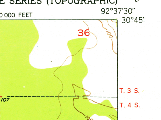 Reduced fragment of topographic map en--usgs--024k--018805--(1951)--N030-45-00_W092-45-00--N030-37-30_W092-37-30