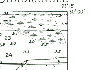 Reduced fragment of topographic map en--usgs--024k--018838--(1935)--N030-00-00_W093-22-30--N029-52-30_W093-15-00